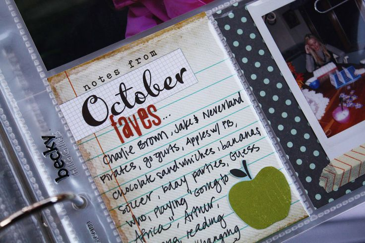 for project life - love the idea of doing a list of faves