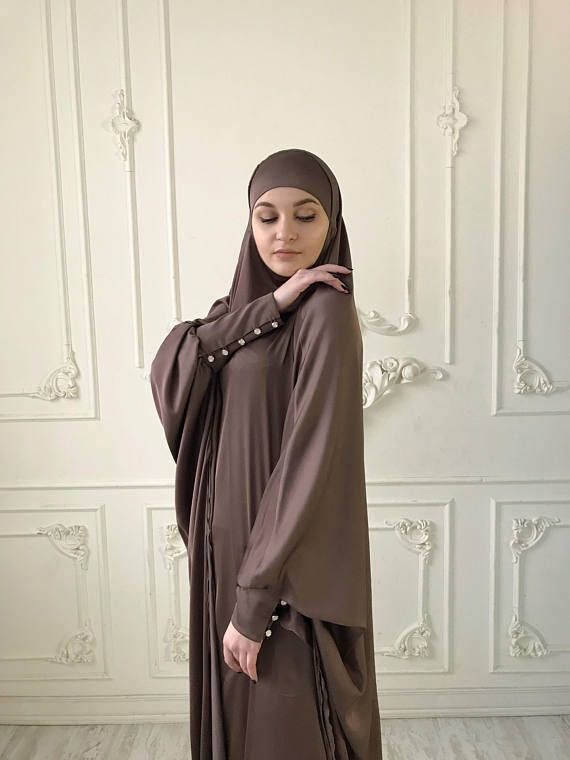 Brown Long Silk #Khimar, Elegant #muslim dress, caramel Burqa,Dubai #Abaya, traditional hijab,ready to wear #hijab, long #jilbab, Long #burqa