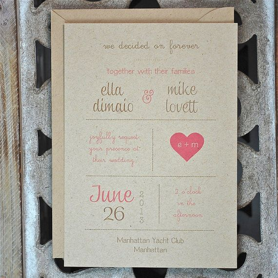 Wedding Invitations . Wedding Invites . Rustic Wedding Invitations . Recycled Heart Invitations on Etsy, $2.50