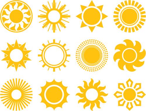 Sun icons design elements | Patternalia - Yellow ...