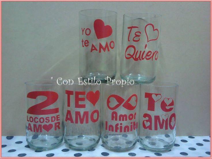 Vasos artesanales hechos con botella de vidrio con frases for Vinilo para vidrio