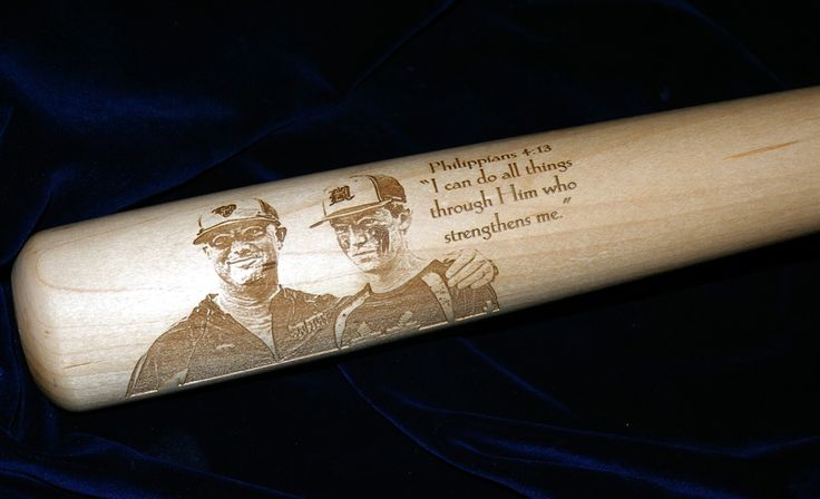 "34"" Maple Baseball Bat Personalized w/ a  photo and wording and then a gloss lacquer finish added. Submit a request to us for your own personalized baseball bat at www.westvirginiawoodarts.com  and receive a free preview. Makes a great holiday gift for any ball player!"