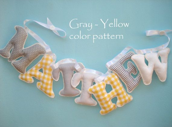 Boys room name banner, Fabric letter name banner - GRAY - YELLOW  COLOR pattern, Baby Boy Name Wall Art - Made To Order
