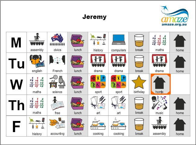 A visual schedule maker from the AMAZE website.
