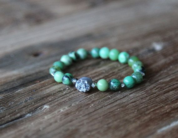Chinese chrysoprase and silver druzy accent beaded stacking bracelet by Rosehip Jewelry