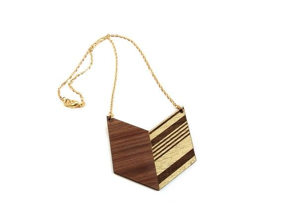 walnut and gold necklace