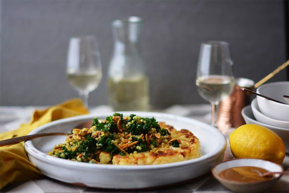 Pan Fried Cauliflower with Moroccan Pearl Cous Cous, Kale and Almonds - Maggie Beer