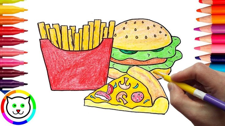 8 Coloring Pages Hamburger And Fries In 2020 Hamburger And Fries Coloring Pages Fries