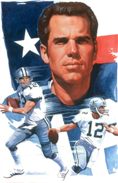 Roger Staubach, Dallas Cowboys by Jim Auckland, c.1990.