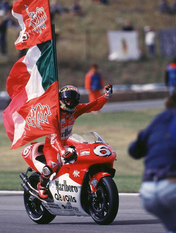 Max Biaggi celebrates during his debut 1998 500cc season.