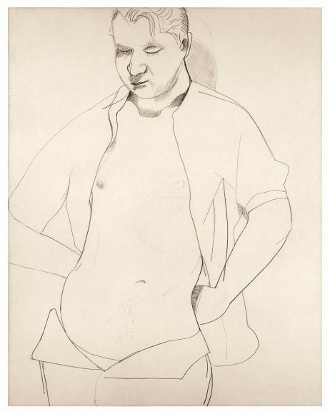 Lucian Freud, Study of Francis Bacon 1951 Crayon and chalk on paper 12 1/2 x 16 1/2 inches (54.7 x 42 cm)