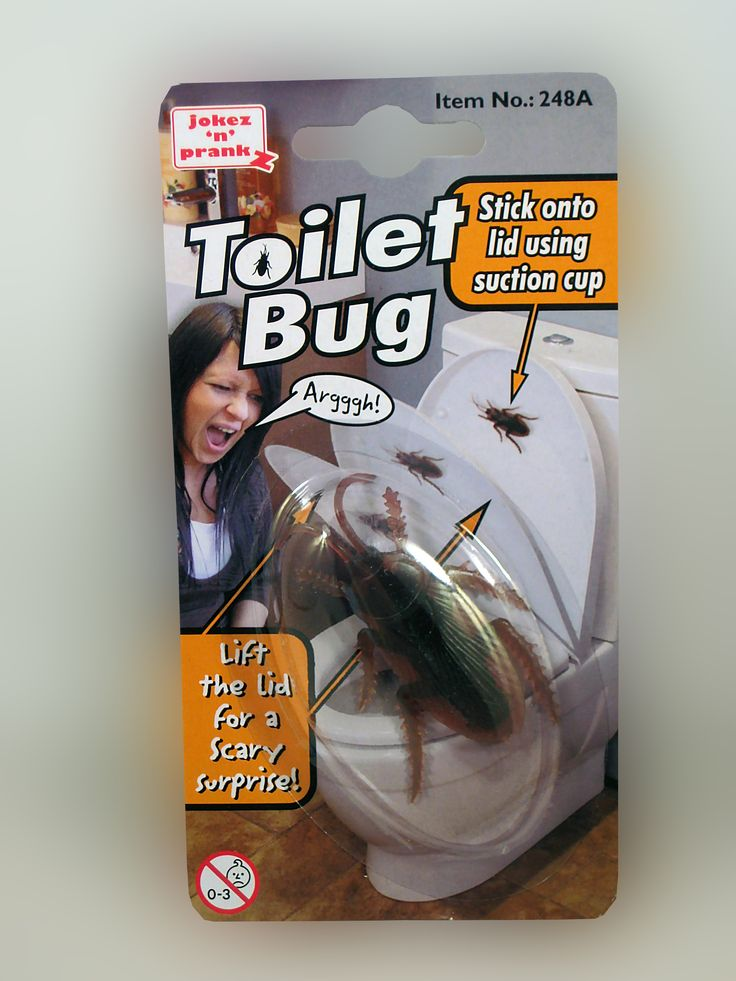 "TOILET BUG.... One of the ""BEST"" toilet pranks ever! Stick the bug onto the lid using the suction cup and wait till someone lifts the lid to go.... LOL! theonestopfunshop.com"
