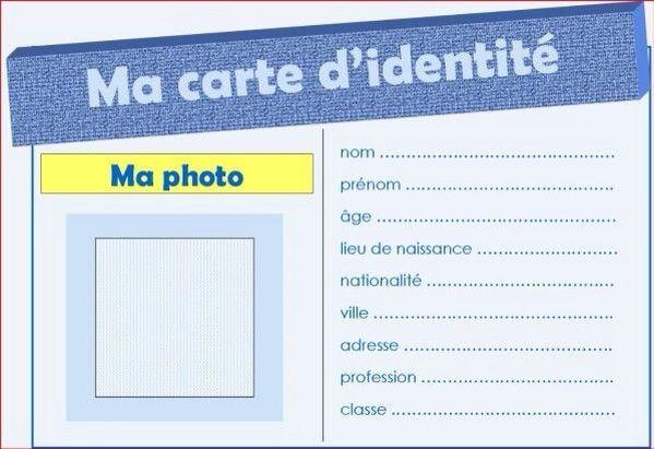 La Carte D Identite Carte D Identite Carte Identite Enfant Et