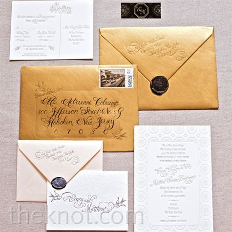 Their customized invitation suite was inspired by the venue, with antique gold envelopes, Beaux Arts detailing and a stamp depicting the Capitale site back when it was a bank.: Vintage Wedding, Wedding Vintage, Wedding Invitations, Gold Wedding, Photo, Gold Invitations, Vintage Gold