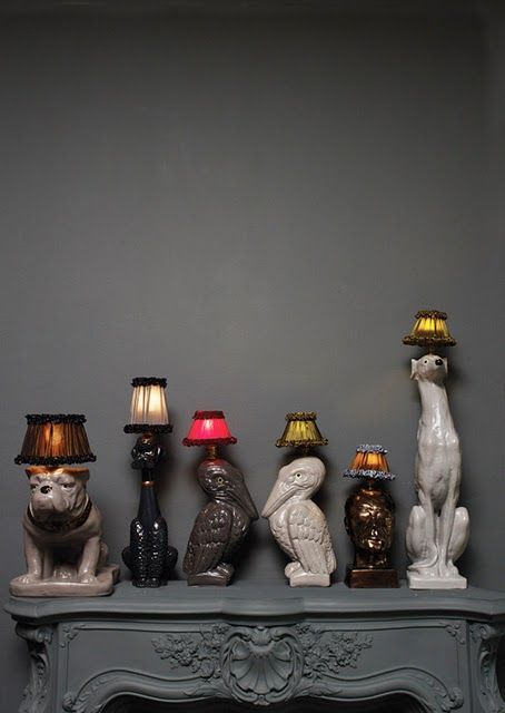 Playful collection of kitschy vintage ceramic lamps! From Interior Decline ( www.interiordecline.tumblr.com )