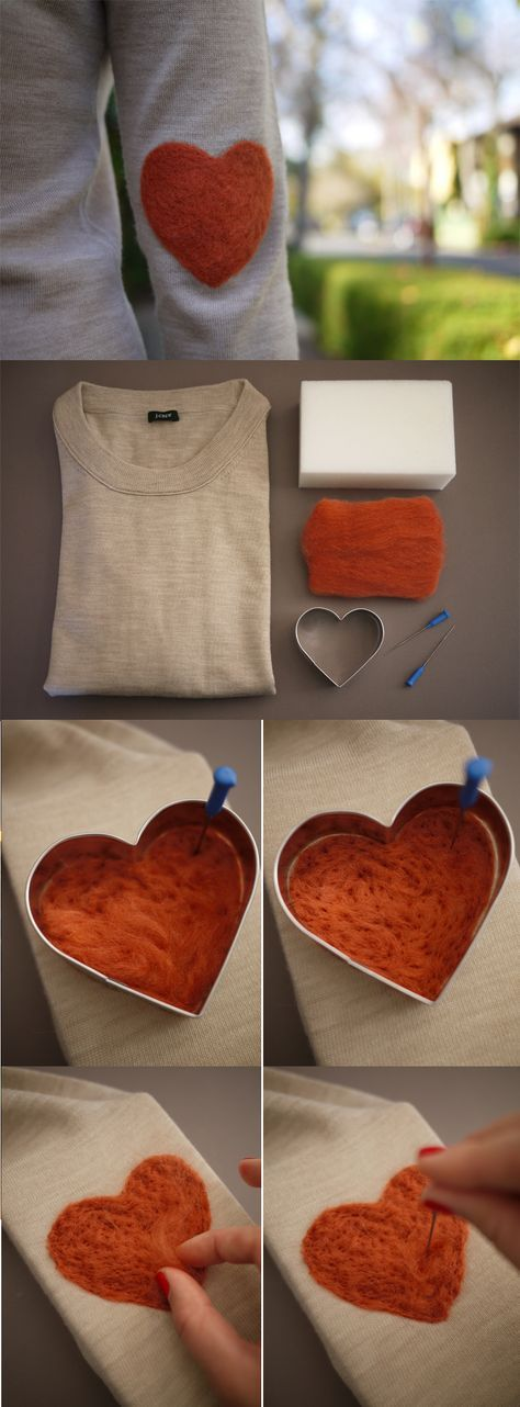 What a great way of up-cycling an old jumper with some needle felting - #DIY Elbow Patch Tutorial