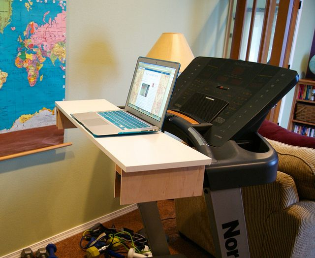 DIY Treadmill Desk for Under $25! I love that this DIY allows me to burn calories and get my work done at the same time. It would be great if this DIY was available to every officer worker.  #DIY #treadmill #treadmilldesk