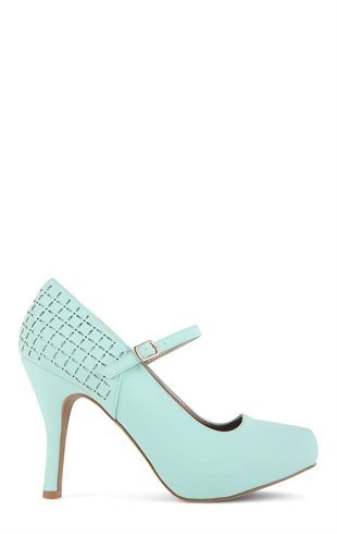 Deb Shops Platform Pump with Mary Jane Strap and Perforated Back $24.67