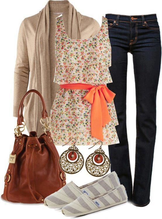 spring outfit with floral shirt, jeans and accessories