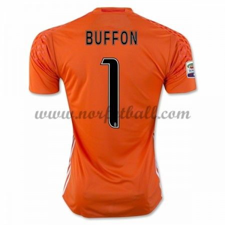 Billige Fotballdrakter Juventus 2016-17 Buffon 1 Keeper Hjemme Draktsett Kortermet