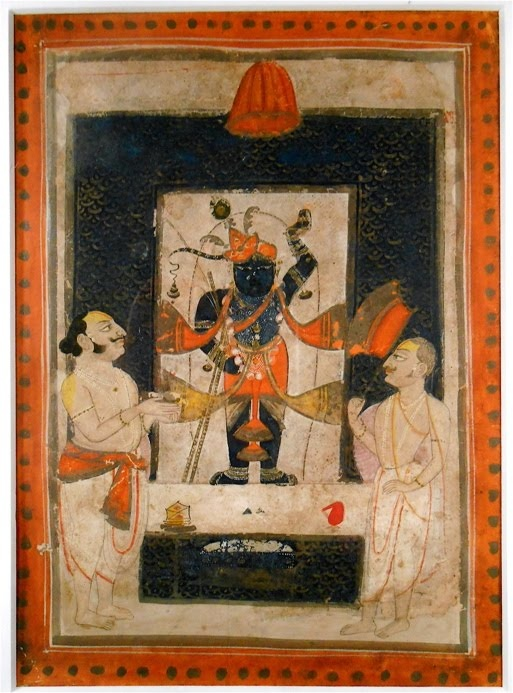Shrinathji. In this pose, Lord Krisna is venerated in the temple in Nathdwara, Rajasthan. Hindu Indian miniature painting.