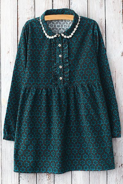 Geometric Print Peter Pan Collar Dress