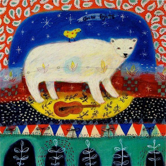 SALE Polar bear art print  limited edition giclee on by 21colors