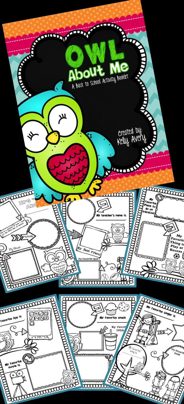 If you are a teacher looking for some All About Me activities, this no prep, owl themed booklet is perfect for a back to school activity, end of the year activity, or a literacy center activity anytime during the school year!  Click here to discover these engaging, printables for kids of all ages!  This All About Me booklet is guaranteed to keep your students engaged and excited while they complete the fun worksheets!
