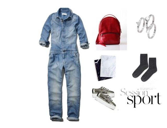 """""""Denim Jumpsuit"""" by opelle-creative on Polyvore featuring Abercrombie & Fitch, Superga, Dear Maison, Edge Only, Topshop, women's clothing, women, female, woman and misses"""