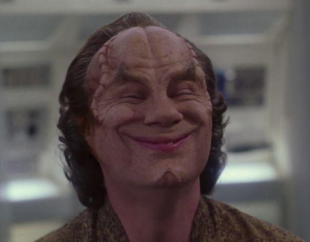 Dr. Phlox (John Billingsley) showing his Denobulan smile in Star Trek Enterprise.