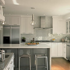 contemporary kitchen by Fiorella Design  Love island...but different upper cabinets (love stainless upper cabinets with opaque glass or mirrors to reflect light into basement kitchen which has no windows) scaled down fridge...in law apt.