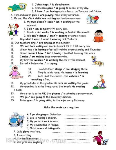 Present Simple Vs Present Continuous Exercises Elementary Pdf