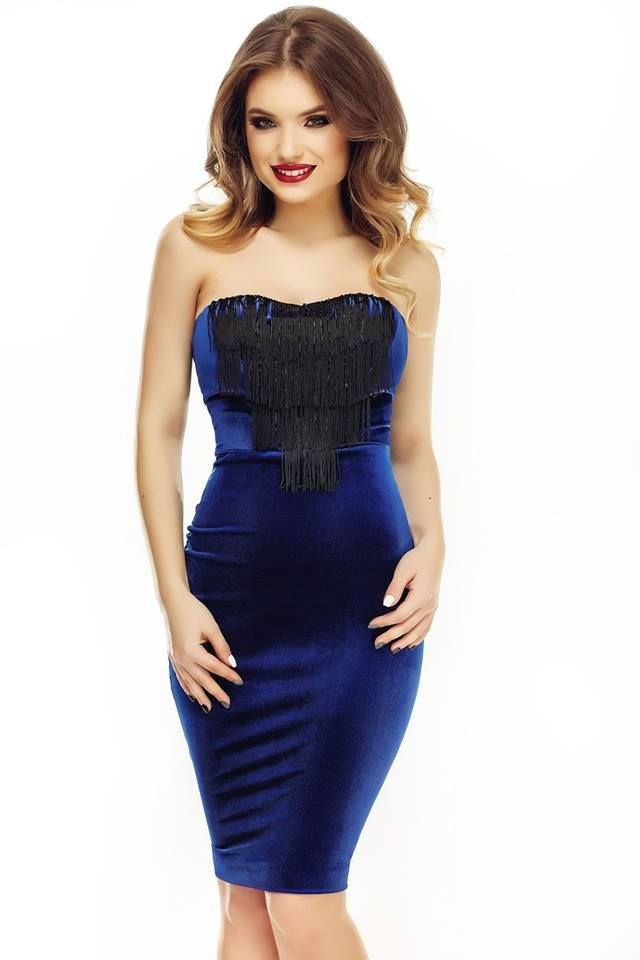 Perfect blue dress made from velvet with fringes and beads.