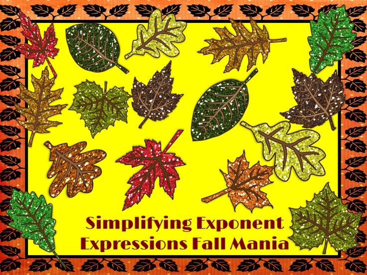 Simplifying Exponent Expressions: Fall Mania - Interactive PowerPoint Game! Click on the leaves to see problems!