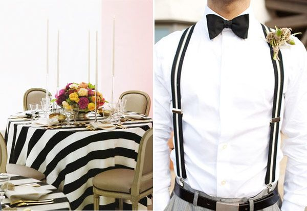 A Monochrome Wedding with a Stripey Twist