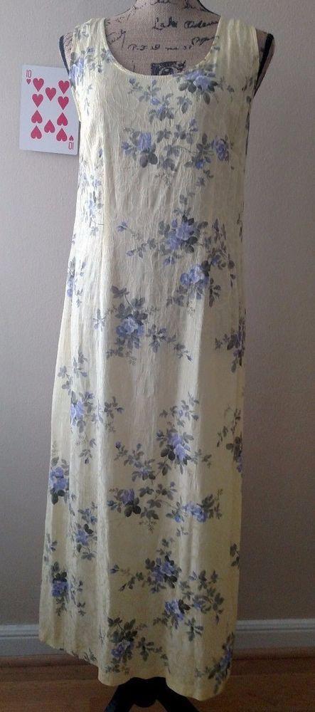 Dress Barn Womens Sun Dress Sleeveless Size 6 Yellow Floral Rayon Full Length #DressBarn #BeachDressSundress #Casual