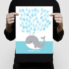 "whale fingerprint guest book baby shower or birthday 11x14"" print nautical sea beach themed nursery art blue saying oceans of love animal"