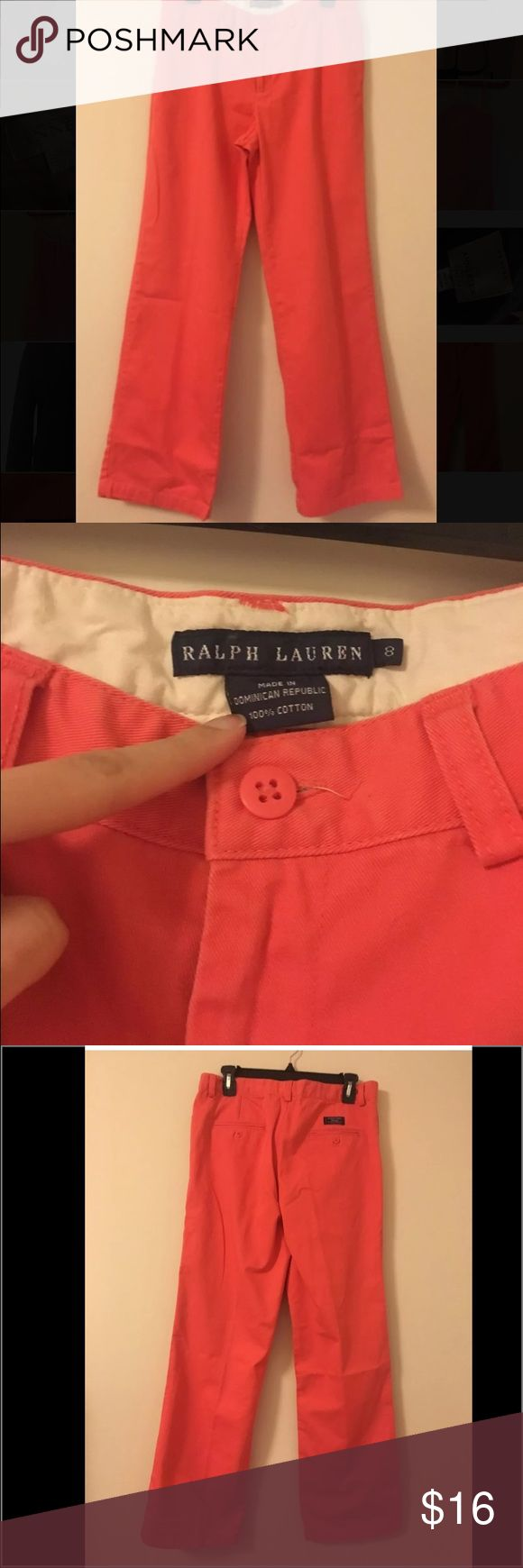 Ralph Lauren orange pants trouser size 8 This is pre owned Ralph Lauren pants. It's in a great condition. Was only worn a couple of times. Size 8.  Check the images and let me know if you have any questions. Ralph Lauren Pants Trousers