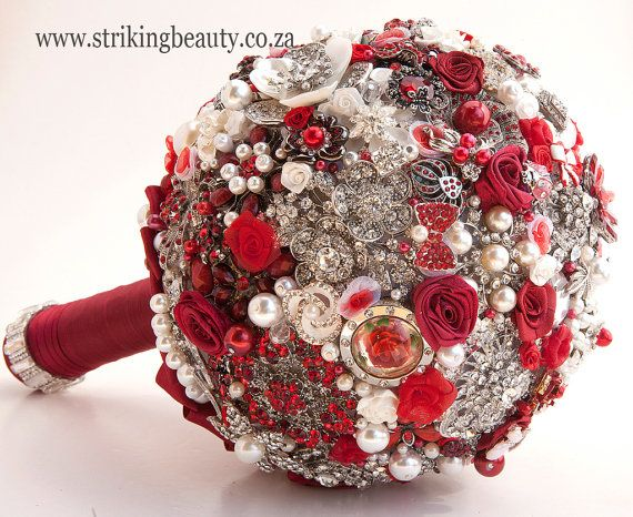 Red brooch bouquet  weddings by BroochbouquetWedding on Etsy