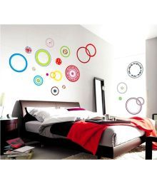 Syga Multicolour Pvc Vinyl Colorful Circle Wall Sticker