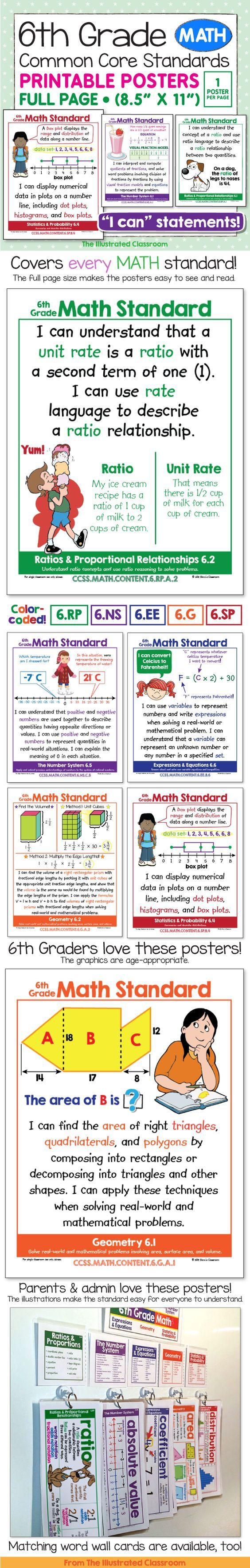 "Full page, color-coded, illustrated ""I can"" statements for 6th grade common core math."