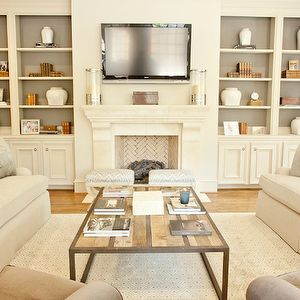 Symmetry Built In Cabinet Chevron Brick Fireplace Detail Wood Metal Coffee Table Classic Neutral Living Room By Munger Interiors
