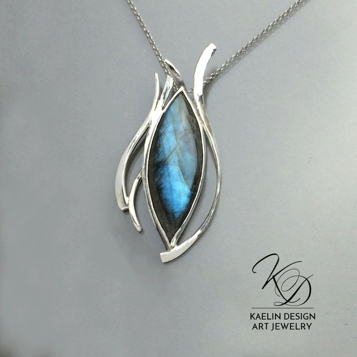 'Dark Waters' Labradorite and Sterling Silver handmade art Jewelry Pendant by Kaelin Design