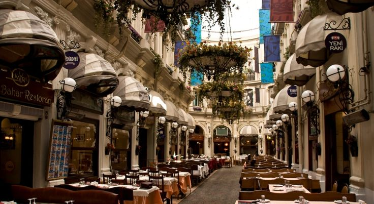 Cicek Pasaji in Beyoglu is a famous historic pasageway lined with restaurants located in the Istiklal Street. History of Cicek Pasaji, Cité De Pera: