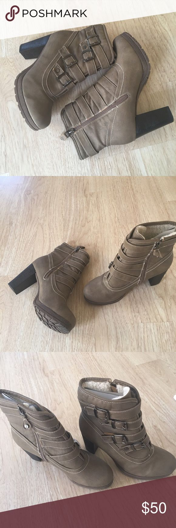Ladies heels ankle boots, fur inside insole. NIB Very stylish, warm and comfy ankle boots for ladies, khaki color , side zipper and 4 side buckles, man made material, faux fur insole, 3 inches heels. New in box. No trades Yoki Shoes Ankle Boots & Booties