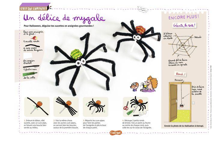 Un délice de mygale. Un bricolage pour les enfants pour transformer des sucettes en araignées: délicieusement terrifiant ! (Extrait du magazine Astrapi n°802, pour les enfants de 7 à 11 ans)