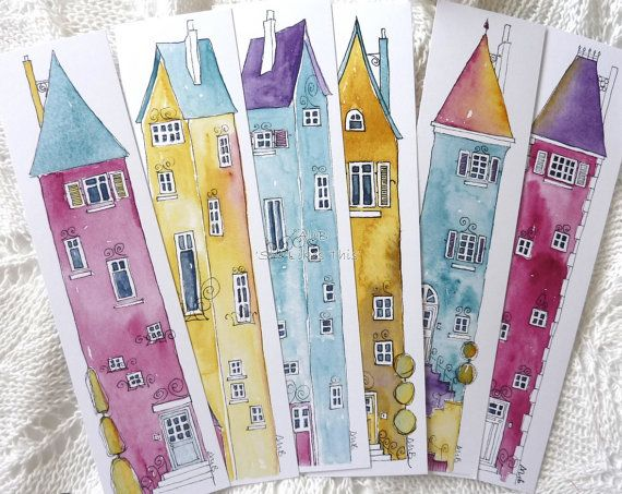 Book marks 6 colourful Illustrations of tall houses, colourful prints from original art