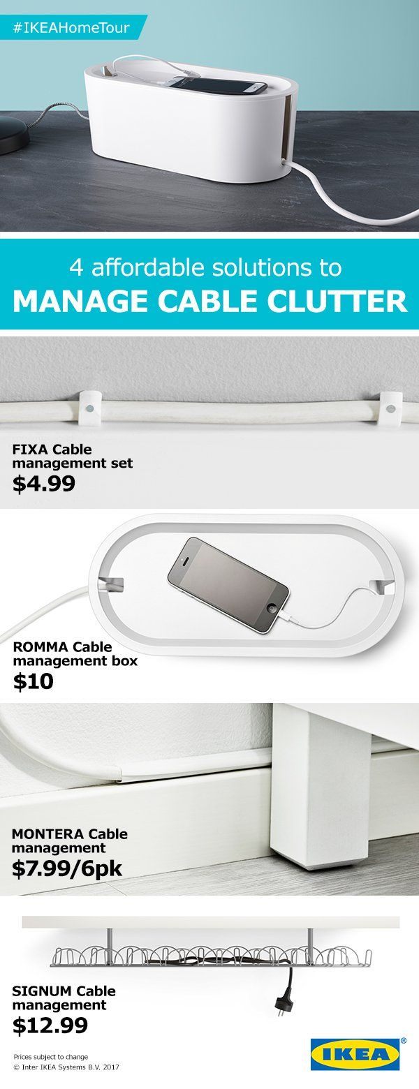 Tangled cables no more! Find four affordable solutions from the IKEA Home Tour Squad to manage cable clutter.