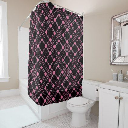 #pink - #Black and pink plaid shower curtain