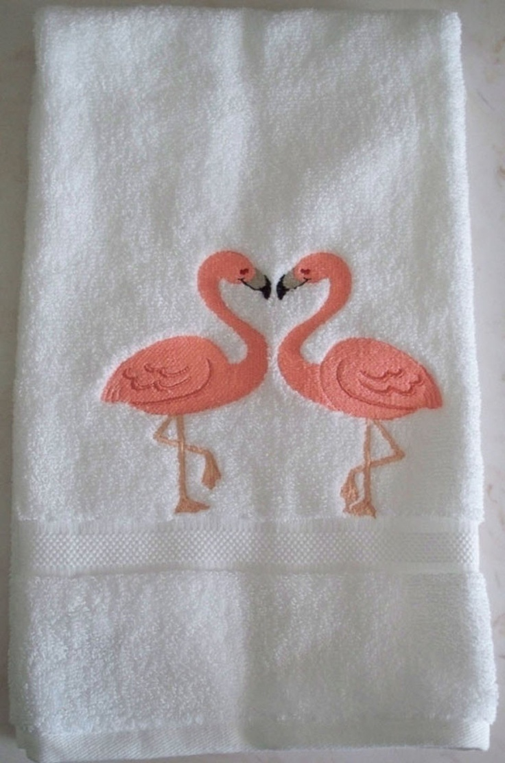 Embroidered Loving Flamingos on a 100% cotton hand towel. $12.95, via Etsy. Perfect for the dream bathroom